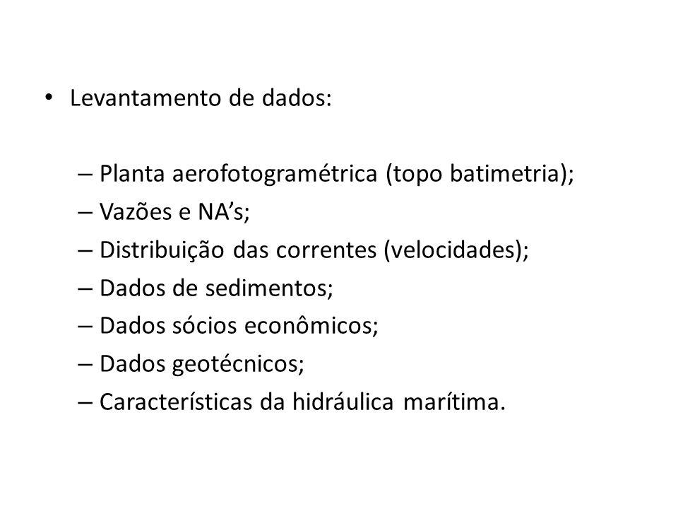 Levantamento de dados: – Planta aerofotogramétrica (topo batimetria); – Vazões e NAs; – Distribuição das correntes (velocidades); – Dados de sedimento
