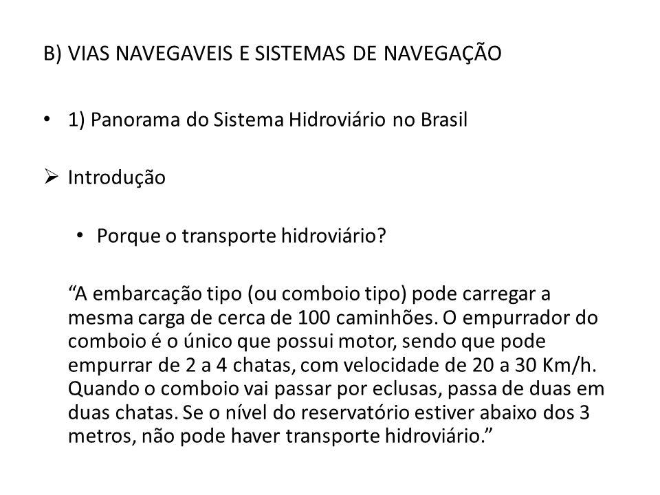 B) VIAS NAVEGAVEIS E SISTEMAS DE NAVEGAÇÃO 1) Panorama do Sistema Hidroviário no Brasil Introdução Porque o transporte hidroviário? A embarcação tipo