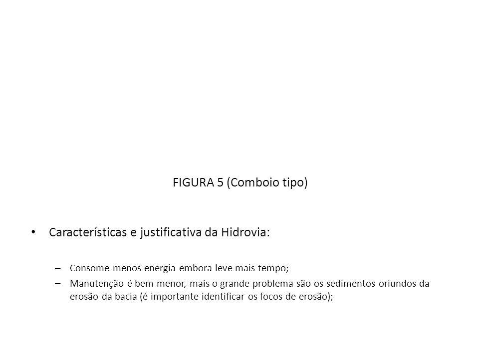FIGURA 5 (Comboio tipo) Características e justificativa da Hidrovia: – Consome menos energia embora leve mais tempo; – Manutenção é bem menor, mais o