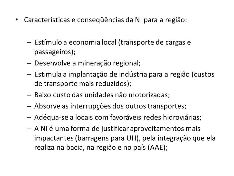 Características e conseqüências da NI para a região: – Estímulo a economia local (transporte de cargas e passageiros); – Desenvolve a mineração region