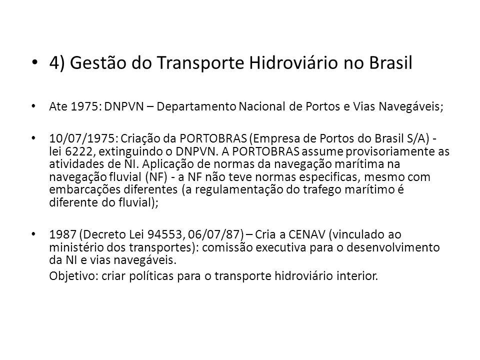 4) Gestão do Transporte Hidroviário no Brasil Ate 1975: DNPVN – Departamento Nacional de Portos e Vias Navegáveis; 10/07/1975: Criação da PORTOBRAS (E