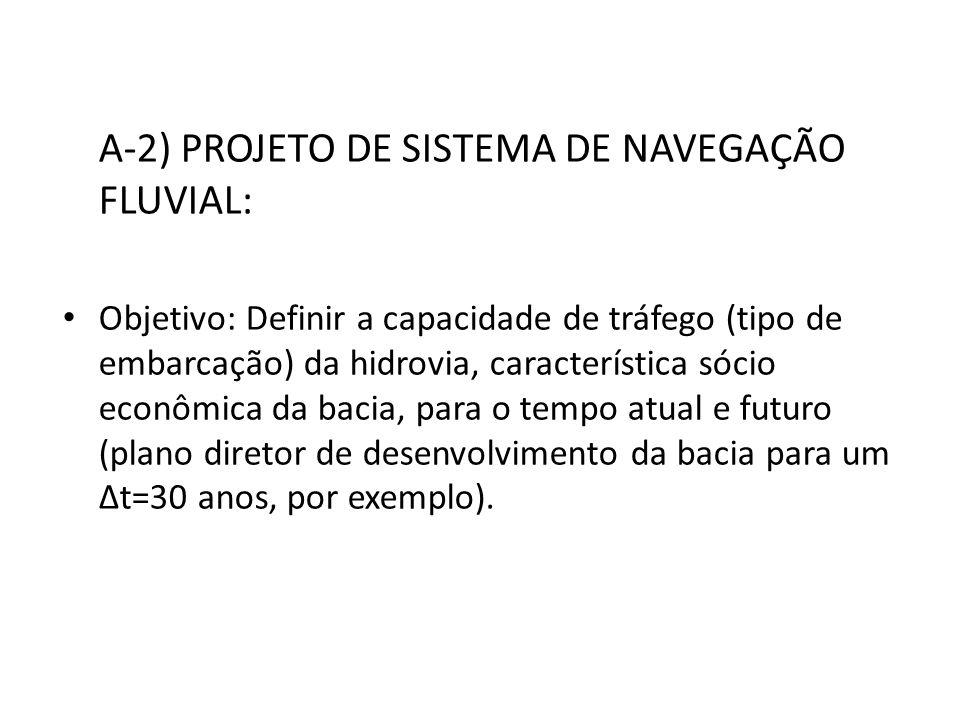 A-2) PROJETO DE SISTEMA DE NAVEGAÇÃO FLUVIAL: Objetivo: Definir a capacidade de tráfego (tipo de embarcação) da hidrovia, característica sócio econômi