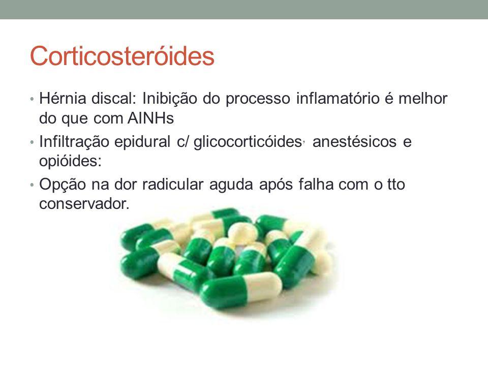 Corticosteróides Hérnia discal: Inibição do processo inflamatório é melhor do que com AINHs Infiltração epidural c/ glicocorticóides, anestésicos e op