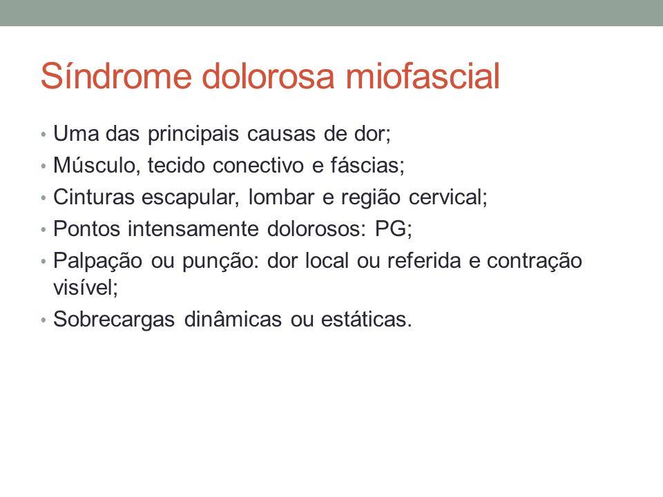 Síndrome dolorosa miofascial Uma das principais causas de dor; Músculo, tecido conectivo e fáscias; Cinturas escapular, lombar e região cervical; Pont