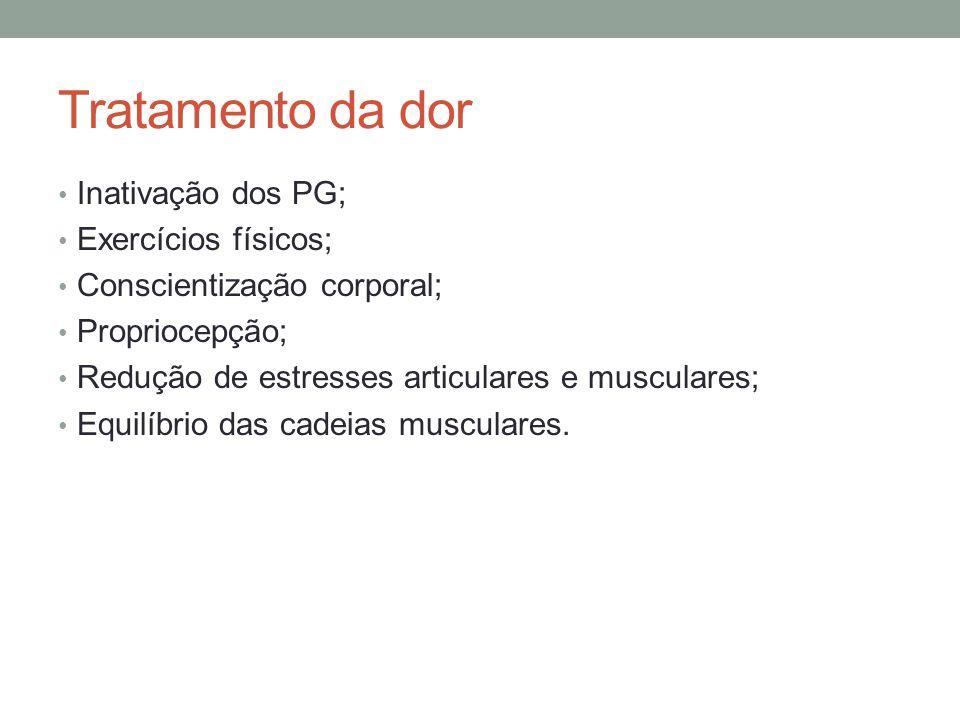 Tratamento da dor Inativação dos PG; Exercícios físicos; Conscientização corporal; Propriocepção; Redução de estresses articulares e musculares; Equil