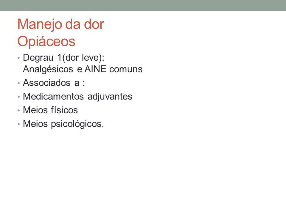 Manejo da dor Opiáceos Degrau 1(dor leve): Analgésicos e AINE comuns Associados a : Medicamentos adjuvantes Meios físicos Meios psicológicos.