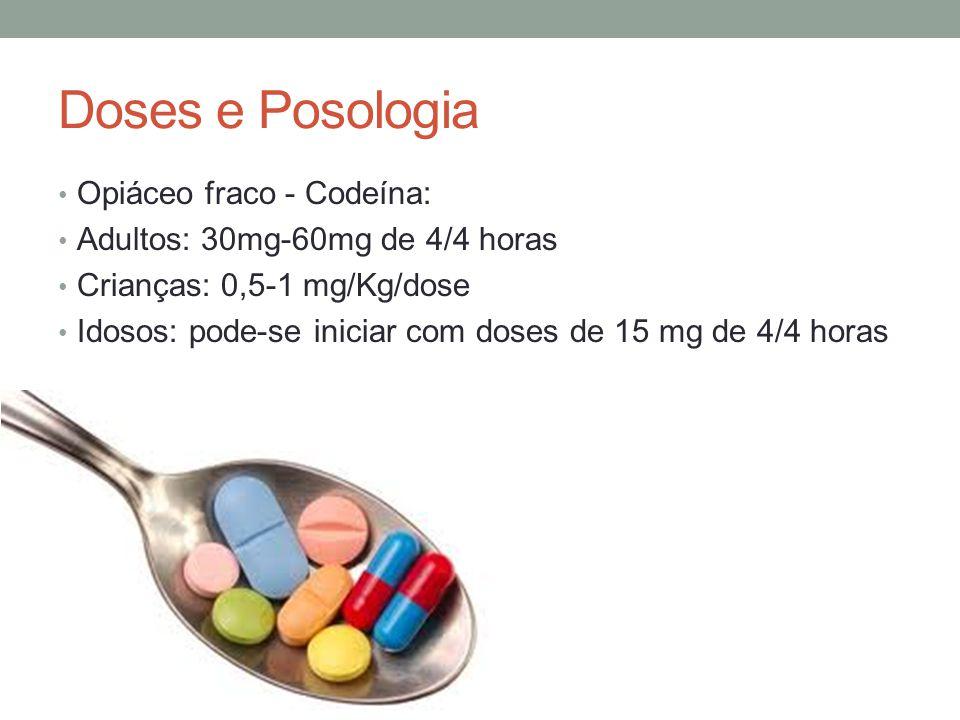 Doses e Posologia Opiáceo fraco - Codeína: Adultos: 30mg-60mg de 4/4 horas Crianças: 0,5-1 mg/Kg/dose Idosos: pode-se iniciar com doses de 15 mg de 4/