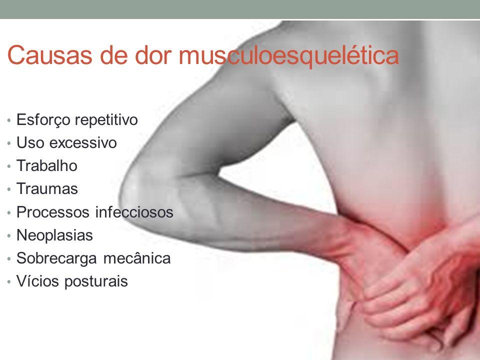 Causas de dor musculoesquelética Esforço repetitivo Uso excessivo Trabalho Traumas Processos infecciosos Neoplasias Sobrecarga mecânica Vícios postura