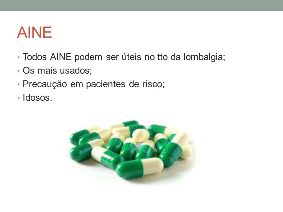 AINE Todos AINE podem ser úteis no tto da lombalgia; Os mais usados; Precaução em pacientes de risco; Idosos.