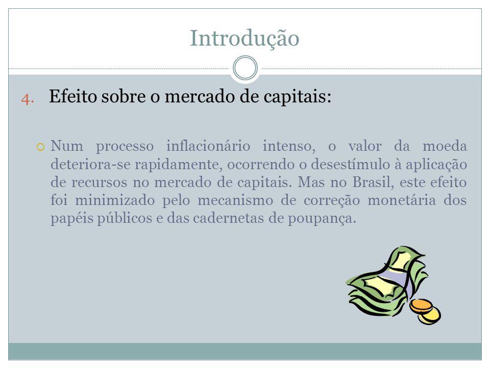 Introdução 4. Efeito sobre o mercado de capitais: Num processo inflacionário intenso, o valor da moeda deteriora-se rapidamente, ocorrendo o desestímu