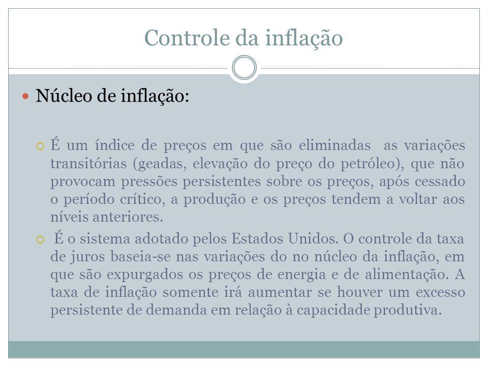 Controle da inflação Núcleo de inflação: É um índice de preços em que são eliminadas as variações transitórias (geadas, elevação do preço do petróleo)