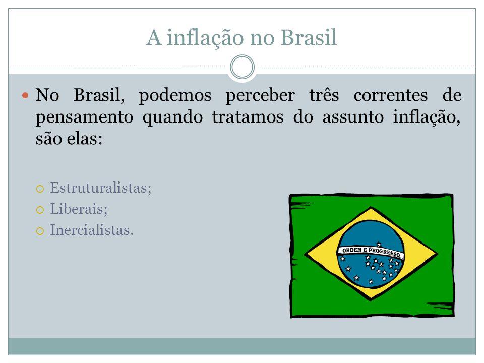 A inflação no Brasil No Brasil, podemos perceber três correntes de pensamento quando tratamos do assunto inflação, são elas: Estruturalistas; Liberais