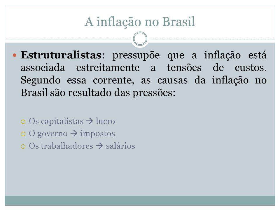A inflação no Brasil Estruturalistas: pressupõe que a inflação está associada estreitamente a tensões de custos. Segundo essa corrente, as causas da i