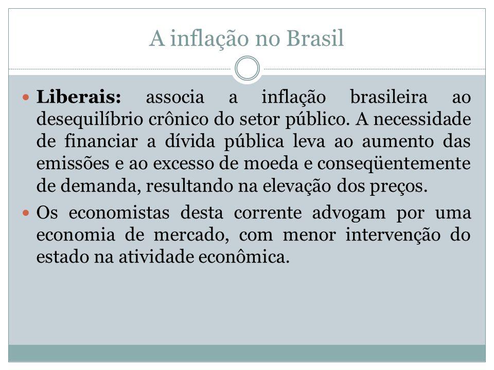 A inflação no Brasil Liberais: associa a inflação brasileira ao desequilíbrio crônico do setor público. A necessidade de financiar a dívida pública le