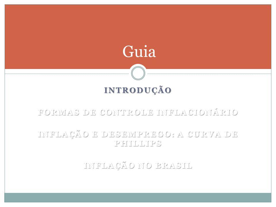 INTRODUÇÃO FORMAS DE CONTROLE INFLACIONÁRIO INFLAÇÃO E DESEMPREGO: A CURVA DE PHILLIPS INFLAÇÃO NO BRASIL Guia