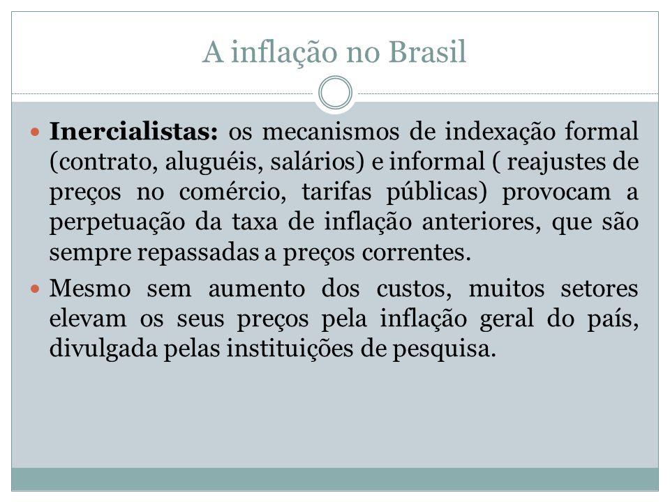 A inflação no Brasil Inercialistas: os mecanismos de indexação formal (contrato, aluguéis, salários) e informal ( reajustes de preços no comércio, tar