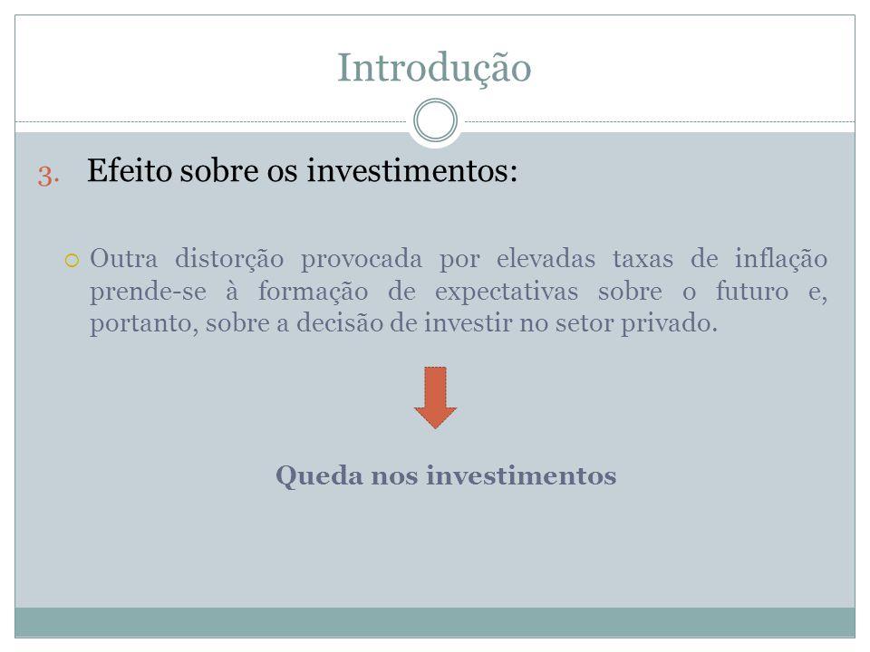 Introdução 3. Efeito sobre os investimentos: Outra distorção provocada por elevadas taxas de inflação prende-se à formação de expectativas sobre o fut