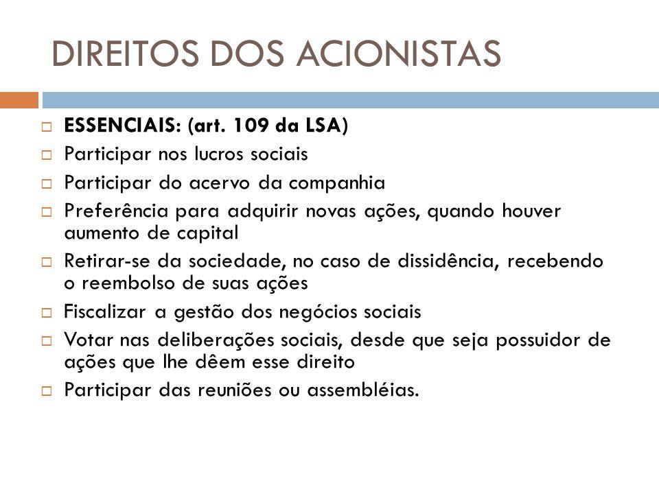 DIREITOS DOS ACIONISTAS ESSENCIAIS: (art. 109 da LSA) Participar nos lucros sociais Participar do acervo da companhia Preferência para adquirir novas