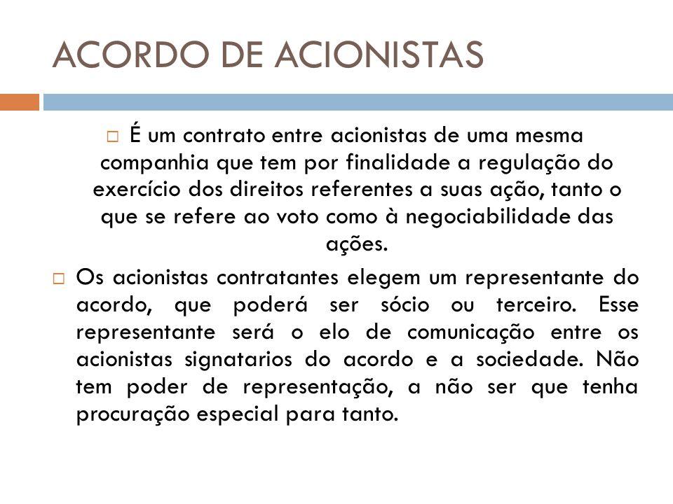 ACORDO DE ACIONISTAS É um contrato entre acionistas de uma mesma companhia que tem por finalidade a regulação do exercício dos direitos referentes a s
