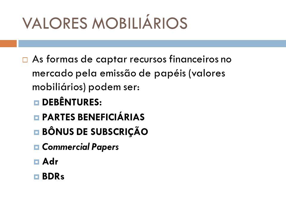As formas de captar recursos financeiros no mercado pela emissão de papéis (valores mobiliários) podem ser: DEBÊNTURES: PARTES BENEFICIÁRIAS BÔNUS DE