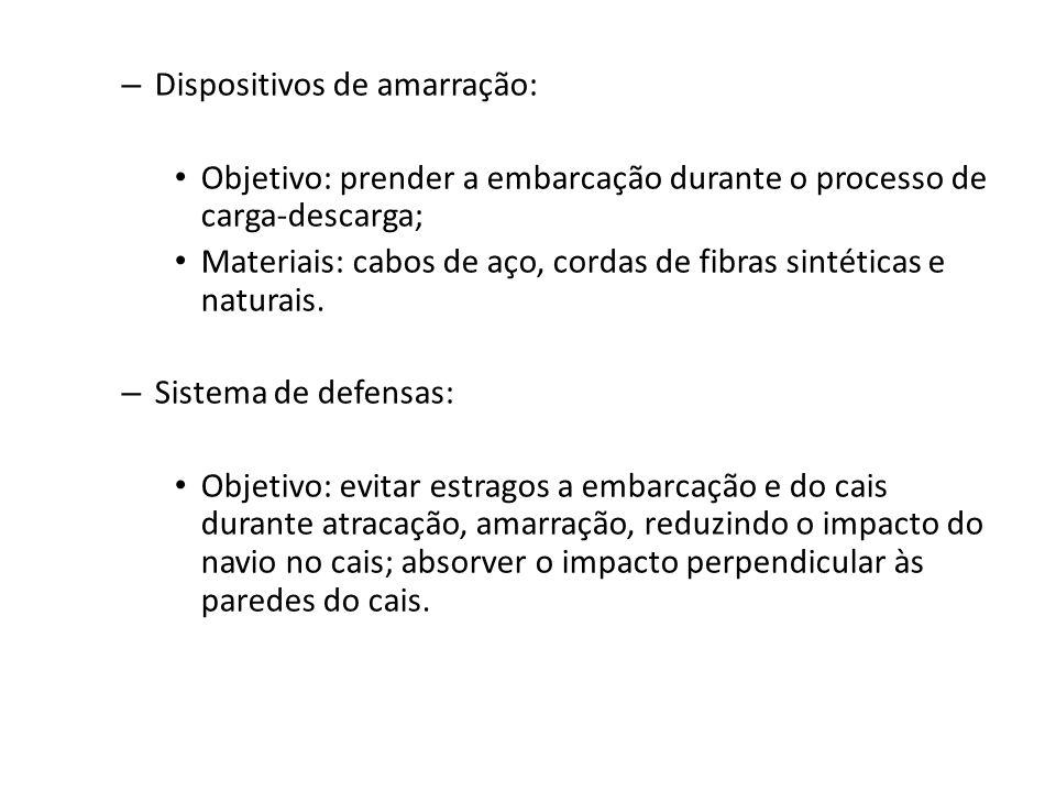 – Dispositivos de amarração: Objetivo: prender a embarcação durante o processo de carga-descarga; Materiais: cabos de aço, cordas de fibras sintéticas