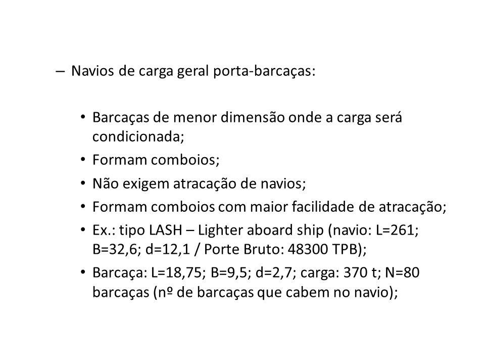 – Navios de carga geral porta-barcaças: Barcaças de menor dimensão onde a carga será condicionada; Formam comboios; Não exigem atracação de navios; Fo