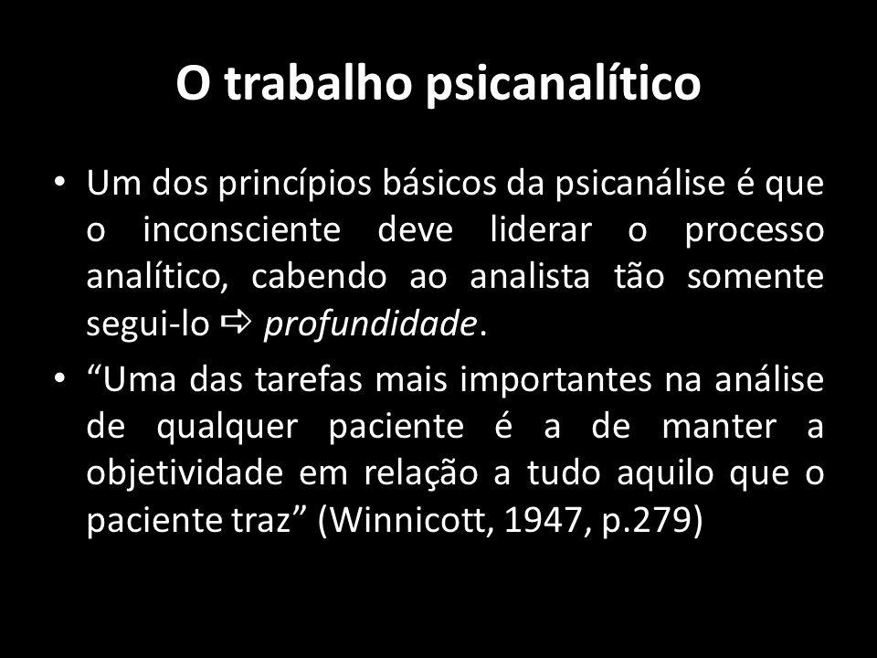 O trabalho psicanalítico Um dos princípios básicos da psicanálise é que o inconsciente deve liderar o processo analítico, cabendo ao analista tão some