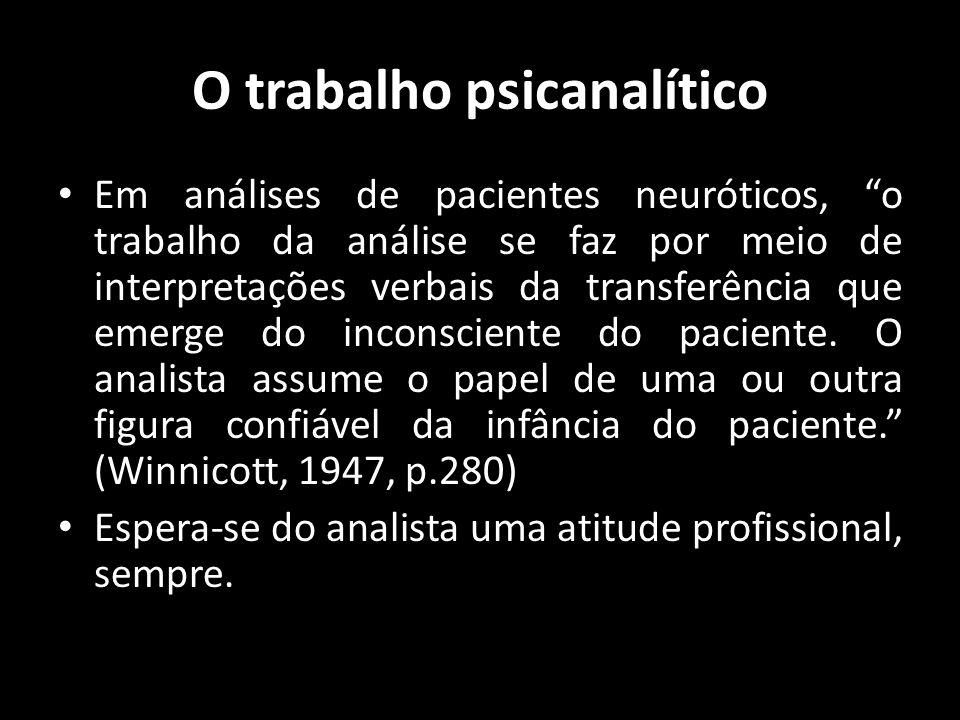 O trabalho psicanalítico Em análises de pacientes neuróticos, o trabalho da análise se faz por meio de interpretações verbais da transferência que eme