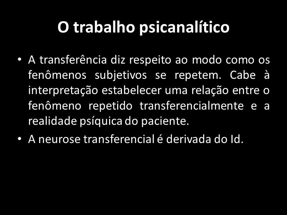 O trabalho psicanalítico A transferência diz respeito ao modo como os fenômenos subjetivos se repetem. Cabe à interpretação estabelecer uma relação en