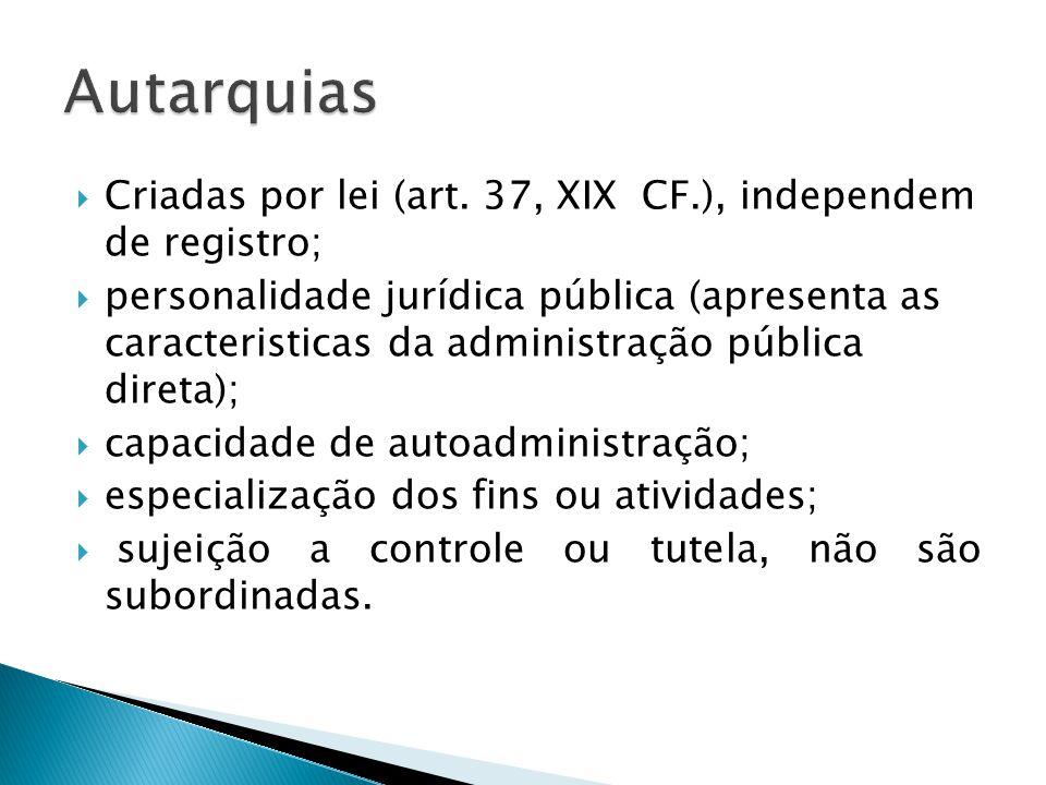 Criadas por lei (art. 37, XIX CF.), independem de registro; personalidade jurídica pública (apresenta as caracteristicas da administração pública dire