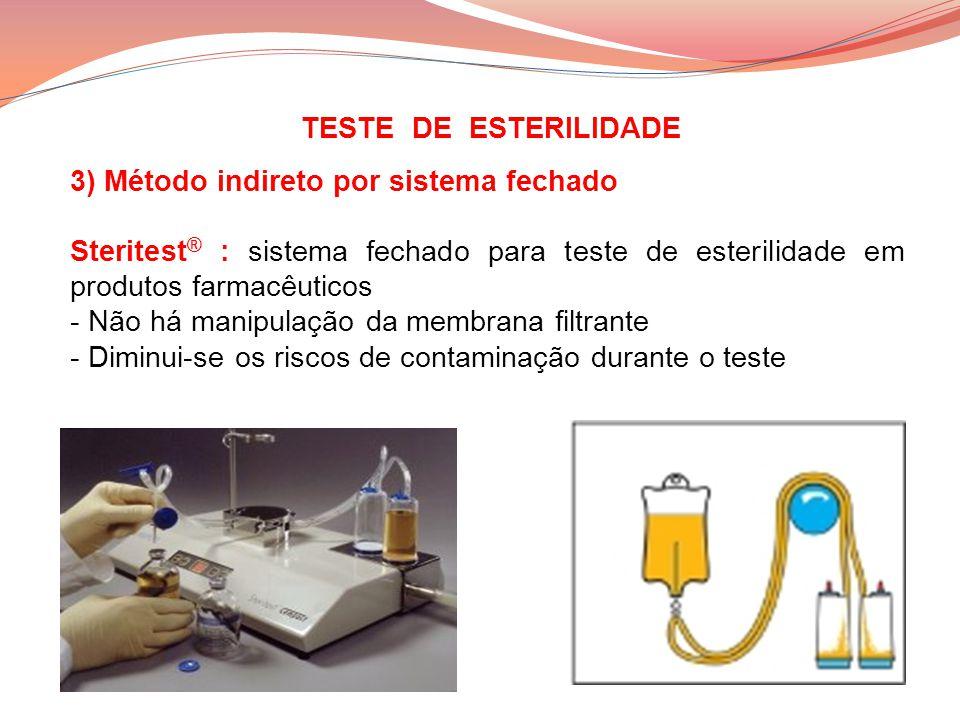 TESTE DE ESTERILIDADE 3) Método indireto por sistema fechado Steritest ® : sistema fechado para teste de esterilidade em produtos farmacêuticos - Não