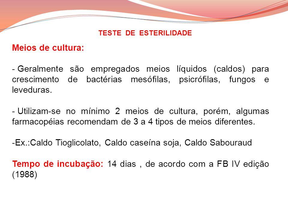 TESTE DE ESTERILIDADE Meios de cultura: - Geralmente são empregados meios líquidos (caldos) para crescimento de bactérias mesófilas, psicrófilas, fung
