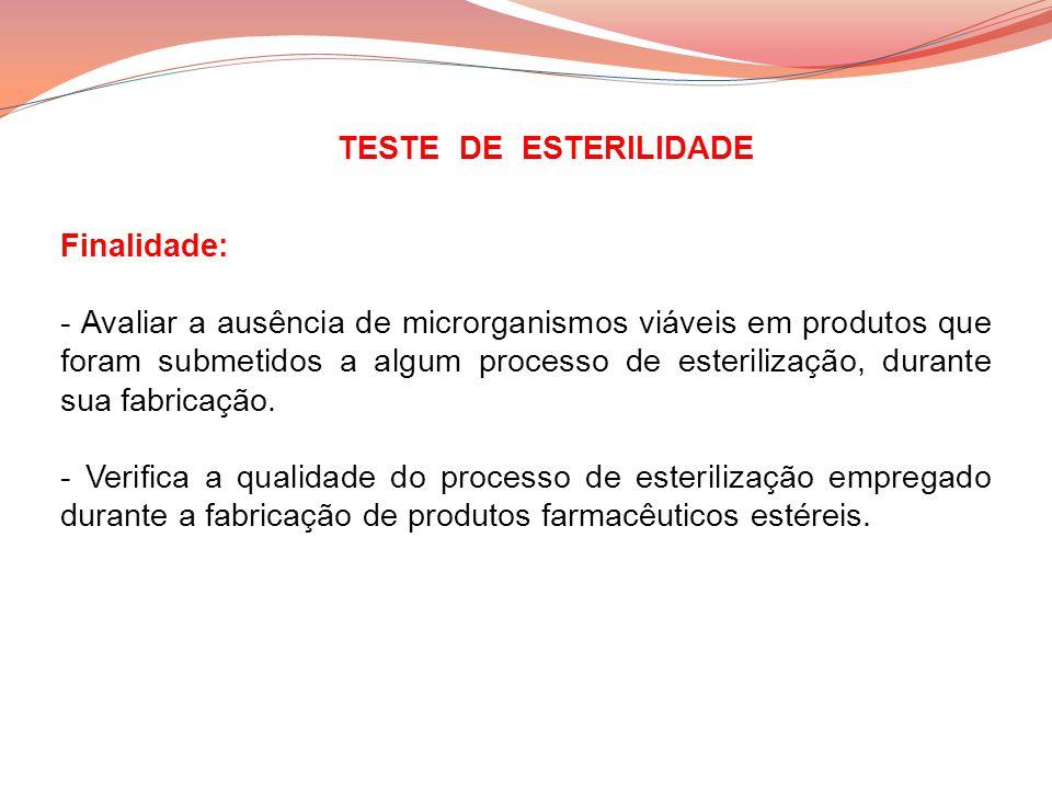 Finalidade: - Avaliar a ausência de microrganismos viáveis em produtos que foram submetidos a algum processo de esterilização, durante sua fabricação.