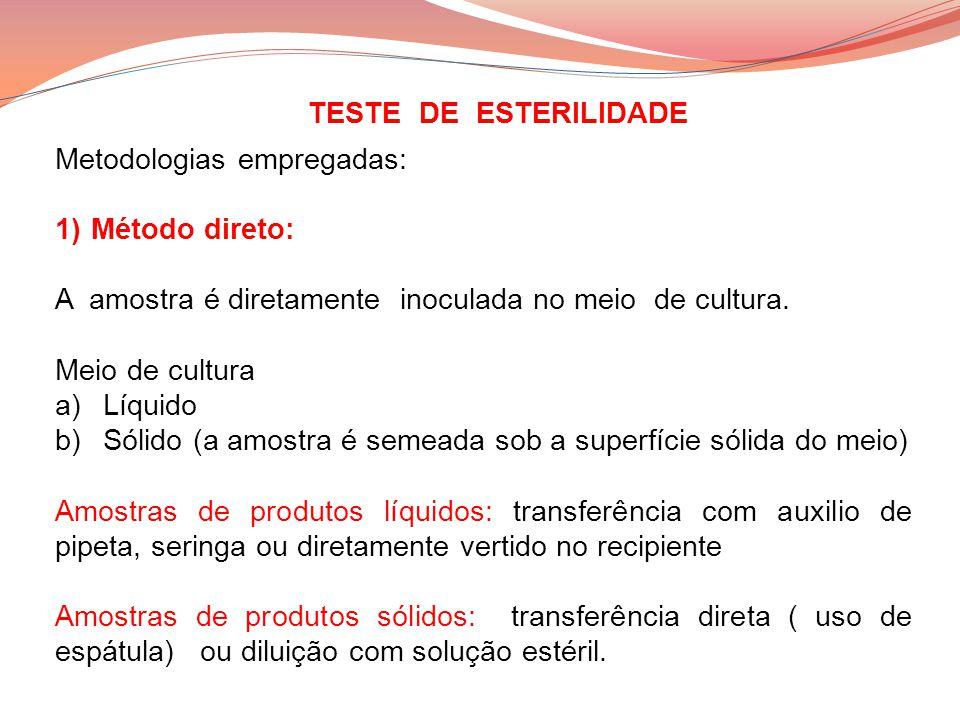 Metodologias empregadas: 1)Método direto: A amostra é diretamente inoculada no meio de cultura. Meio de cultura a)Líquido b)Sólido (a amostra é semead