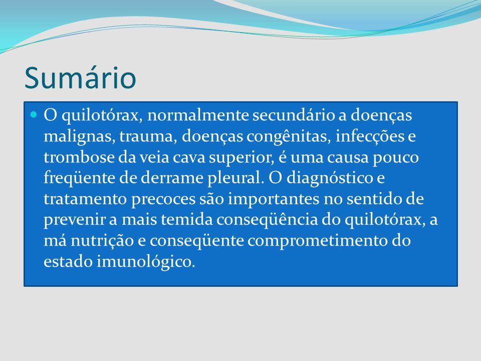 Sumário O quilotórax, normalmente secundário a doenças malignas, trauma, doenças congênitas, infecções e trombose da veia cava superior, é uma causa p