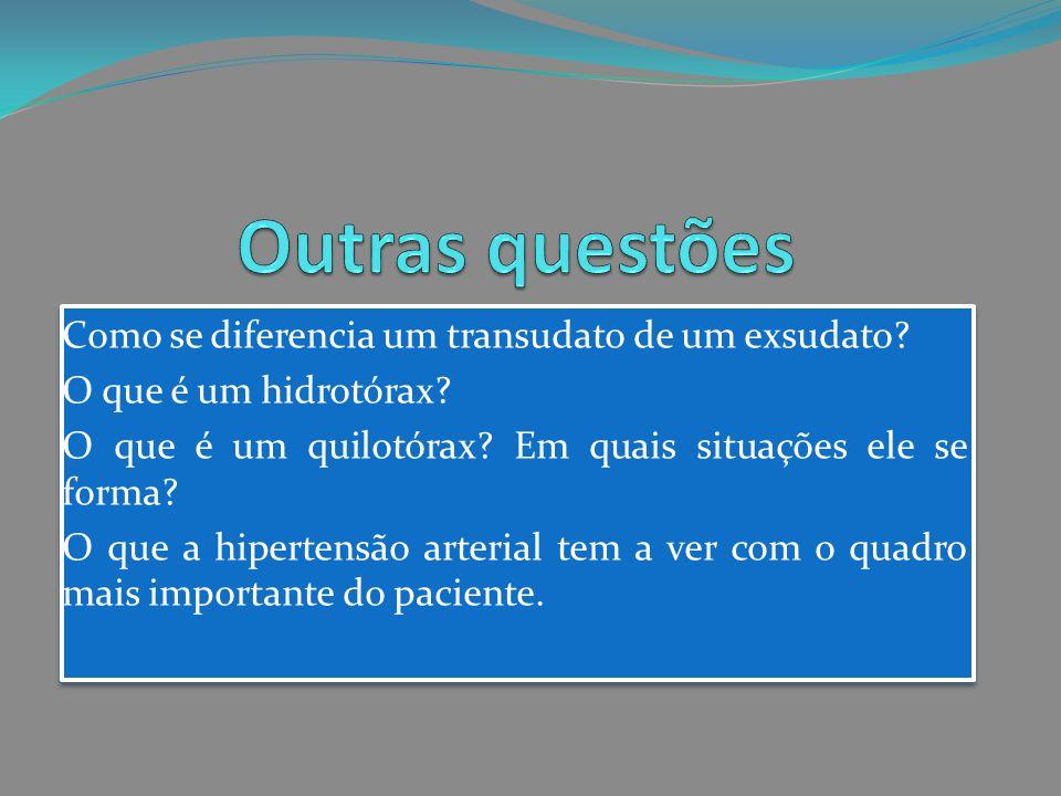 Como se diferencia um transudato de um exsudato? O que é um hidrotórax? O que é um quilotórax? Em quais situações ele se forma? O que a hipertensão ar