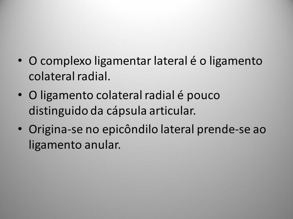 O complexo ligamentar lateral é o ligamento colateral radial.