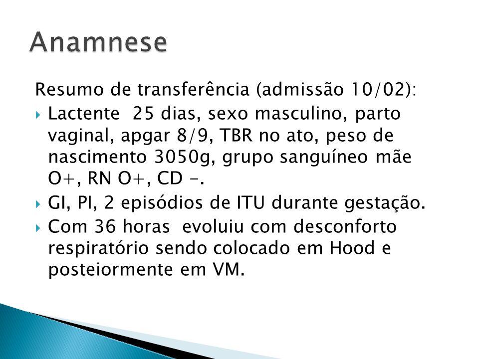 Resumo de transferência (admissão 10/02): Lactente 25 dias, sexo masculino, parto vaginal, apgar 8/9, TBR no ato, peso de nascimento 3050g, grupo sang