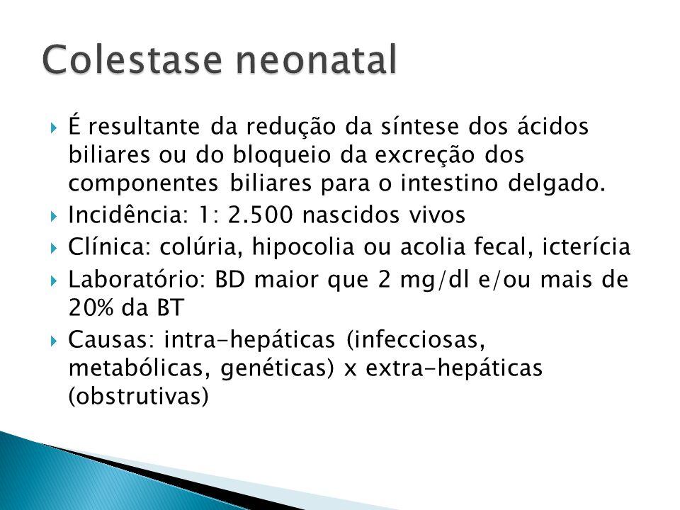É resultante da redução da síntese dos ácidos biliares ou do bloqueio da excreção dos componentes biliares para o intestino delgado. Incidência: 1: 2.