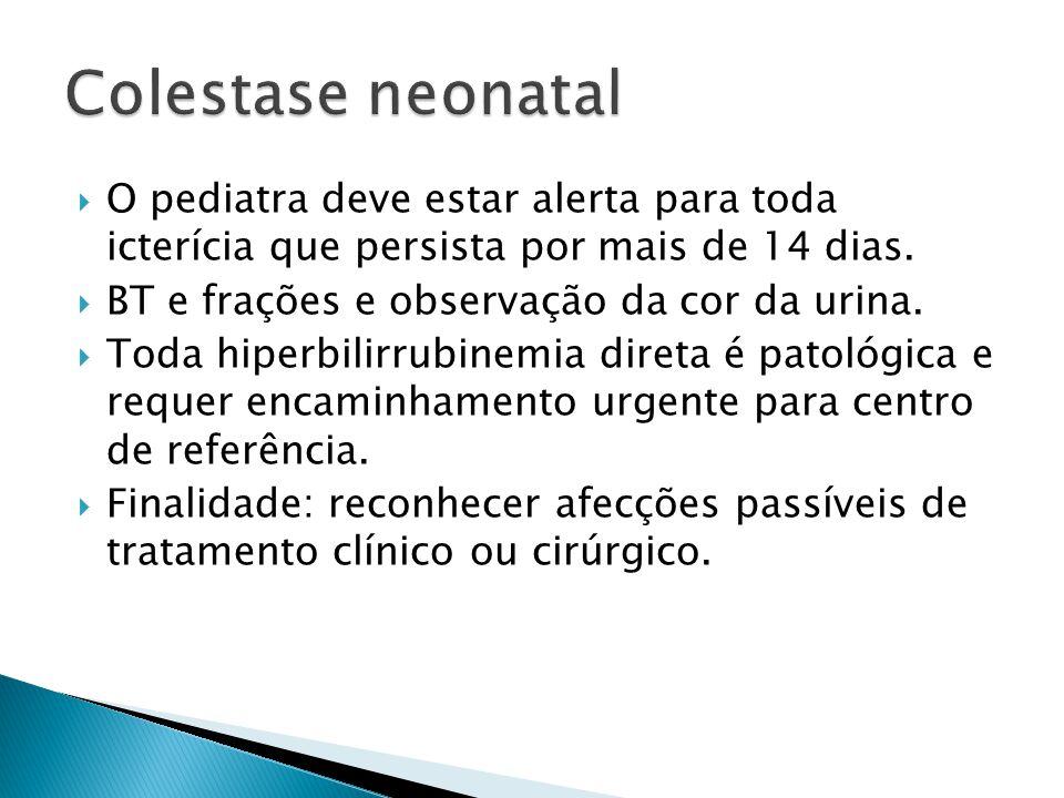 O pediatra deve estar alerta para toda icterícia que persista por mais de 14 dias. BT e frações e observação da cor da urina. Toda hiperbilirrubinemia