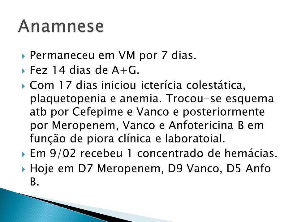 Permaneceu em VM por 7 dias. Fez 14 dias de A+G. Com 17 dias iniciou icterícia colestática, plaquetopenia e anemia. Trocou-se esquema atb por Cefepime