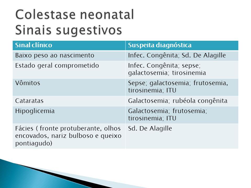 Sinal clínicoSuspeita diagnóstica Baixo peso ao nascimentoInfec. Congênita; Sd. De Alagille Estado geral comprometidoInfec. Congênita; sepse; galactos