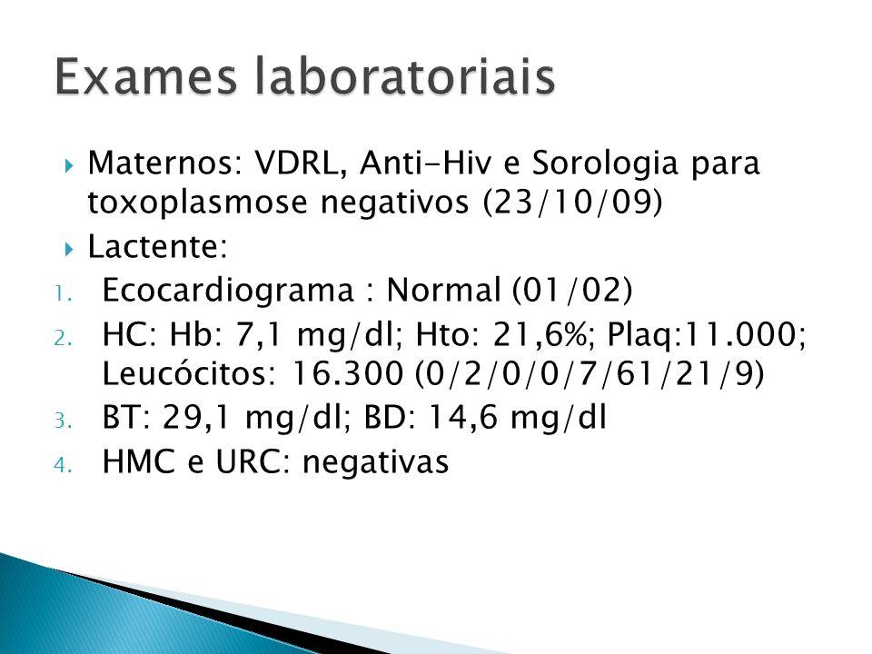 Maternos: VDRL, Anti-Hiv e Sorologia para toxoplasmose negativos (23/10/09) Lactente: 1. Ecocardiograma : Normal (01/02) 2. HC: Hb: 7,1 mg/dl; Hto: 21