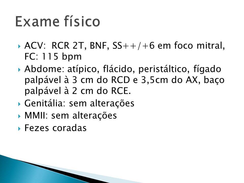 ACV: RCR 2T, BNF, SS++/+6 em foco mitral, FC: 115 bpm Abdome: atípico, flácido, peristáltico, fígado palpável à 3 cm do RCD e 3,5cm do AX, baço palpáv