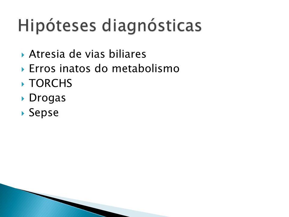 Dados clínicosIntra-hepáticaExtra-hepática Peso de nascimentoBaixo (2,5 kg)Normal (3 kg) InícioPrecoce (até 7-10 dias), súbito Tardio (2 semanas ou mais), lento e progressivo FígadoNormal ou com borda normal ou firme com borda dura, mais palpável no epigástrio BaçoEsplenomegalia precoce Discreto, após 2 meses Estado geralComprometidoBom Sintomas associadosFrequentementeCasos precoces: poliesplenia, cardiopatia Evolução fezes (acolia)Exacerbação-remissão melhorada após 10 dias de observação Persistente, continuam acolicas após 10 dias HemóliseFrequenteRara