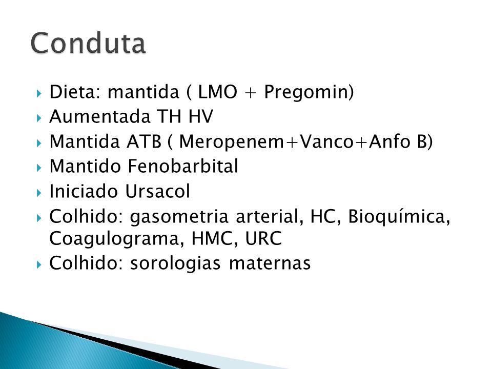 Dieta: mantida ( LMO + Pregomin) Aumentada TH HV Mantida ATB ( Meropenem+Vanco+Anfo B) Mantido Fenobarbital Iniciado Ursacol Colhido: gasometria arter