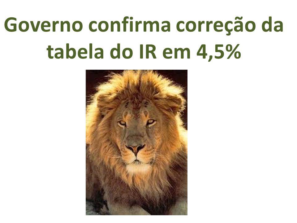 Governo confirma correção da tabela do IR em 4,5%