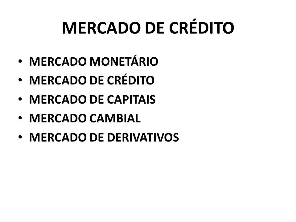 MERCADO DE CRÉDITO MERCADO MONETÁRIO MERCADO DE CRÉDITO MERCADO DE CAPITAIS MERCADO CAMBIAL MERCADO DE DERIVATIVOS
