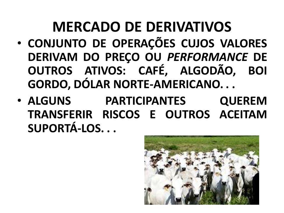MERCADO DE DERIVATIVOS CONJUNTO DE OPERAÇÕES CUJOS VALORES DERIVAM DO PREÇO OU PERFORMANCE DE OUTROS ATIVOS: CAFÉ, ALGODÃO, BOI GORDO, DÓLAR NORTE-AMERICANO...