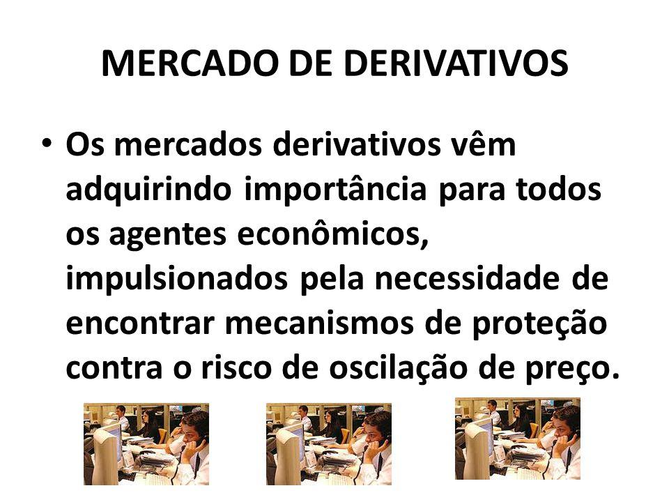 MERCADO DE DERIVATIVOS Os mercados derivativos vêm adquirindo importância para todos os agentes econômicos, impulsionados pela necessidade de encontrar mecanismos de proteção contra o risco de oscilação de preço.